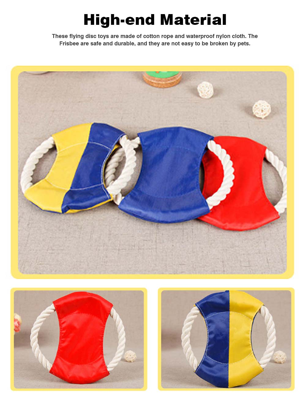 Pet Cotton Rope Woven Green Color Matching Golden Hair Dog Molar Frisbee For Training Interactively 1