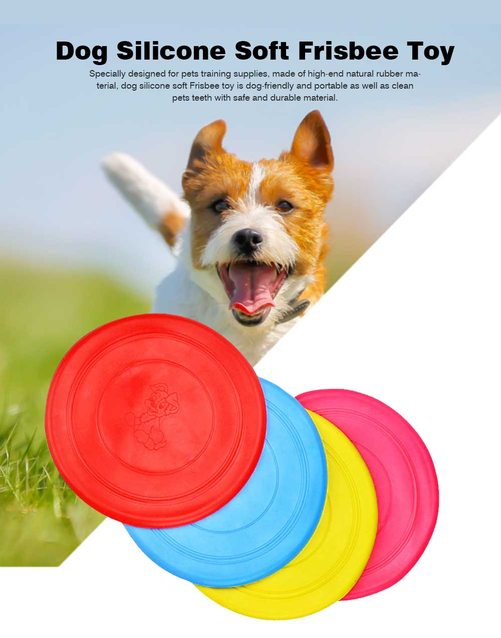 Dog Silicone Soft Frisbee Toy Bite Resistant for Throwing Interactive Pets Training Outdoors 0