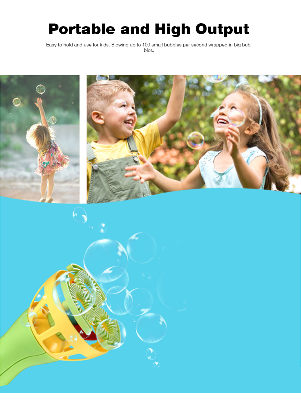 Bubble Gun Shooter Electric Toy Blaster with 5 Barrels, Leak Resistant Bubble Machine with Small Fan for Kids to Cooling 5