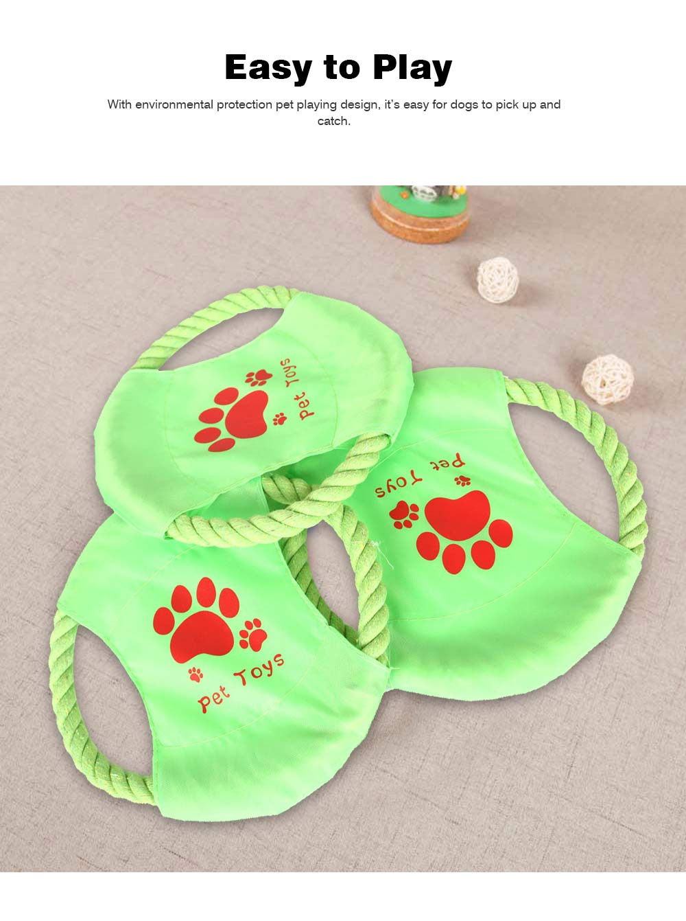 Big Dog Cotton Rope Toy Pet Frisbee, Wear-resistant for Pet Interaction Training Molars Outdoors 5