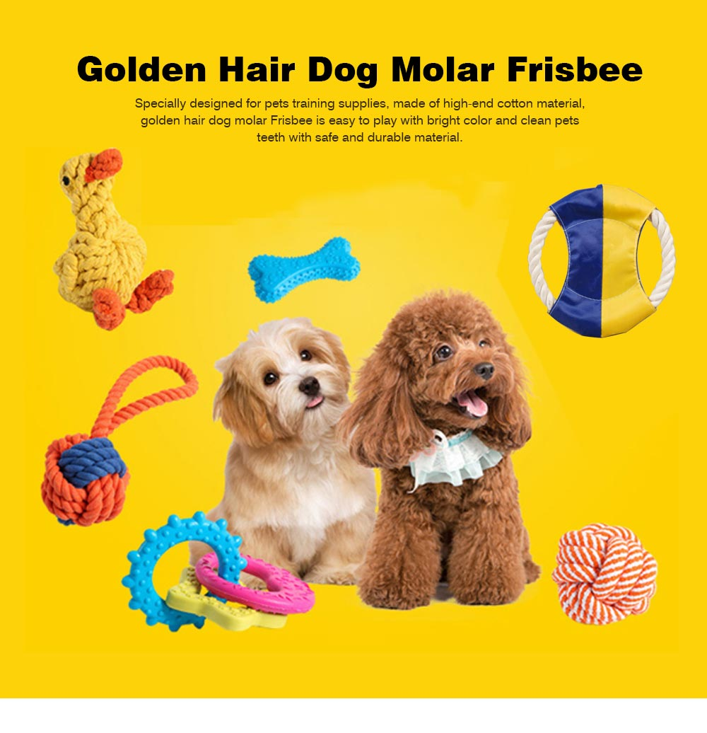 Pet Cotton Rope Woven Green Color Matching Golden Hair Dog Molar Frisbee For Training Interactively 0