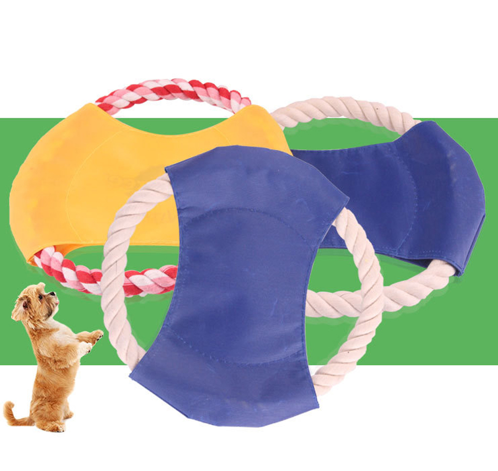 Pet Dog Cotton Rope Waterproof Pet Frisbee, Color Canvas Bite Dog Discs for Pet Training 7