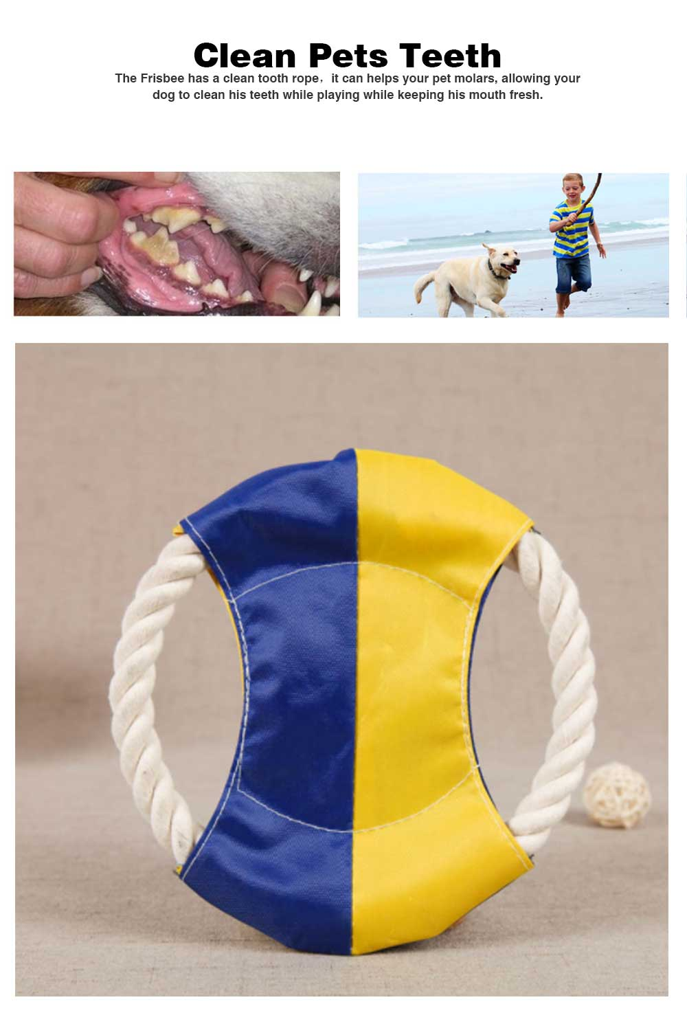 Pet Cotton Rope Woven Green Color Matching Golden Hair Dog Molar Frisbee For Training Interactively 3