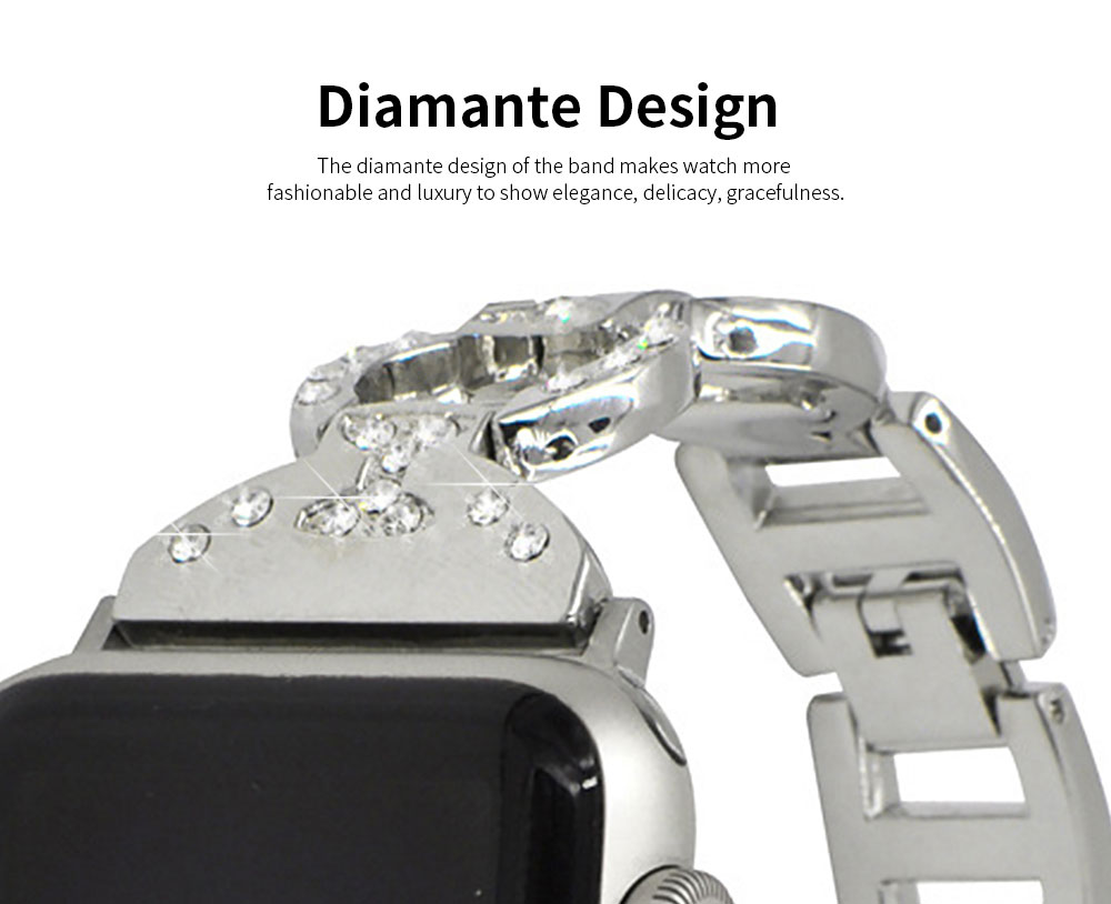 Stainless Steel Watch Band for Apple Watch, Twisted Metal Watch Band, iWatch Twisted Diamante Watch Strap 5