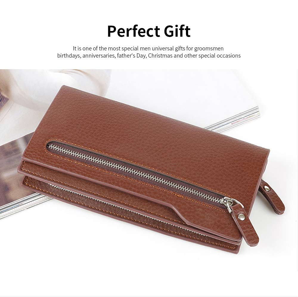 Men's Leather Long Wallet with Smooth Metal Zipper, Business Casual Wallet with Large Capacity for Men 4