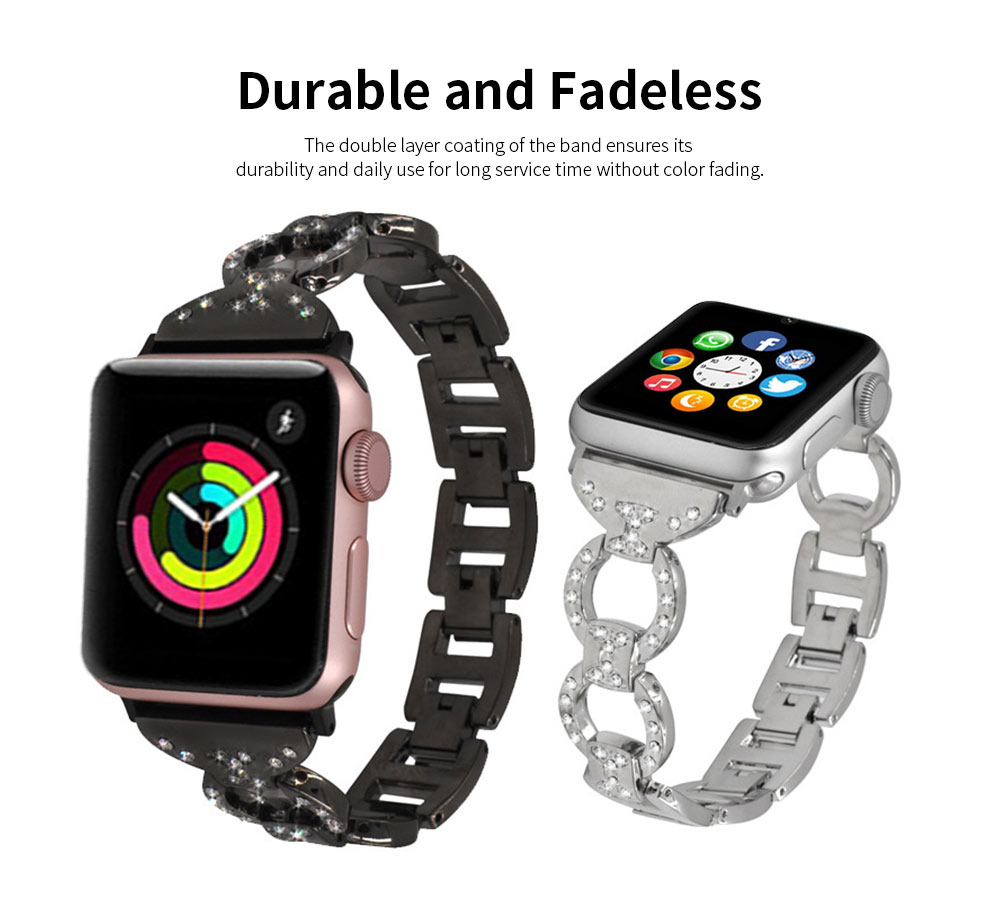 Stainless Steel Watch Band for Apple Watch, Twisted Metal Watch Band, iWatch Twisted Diamante Watch Strap 3