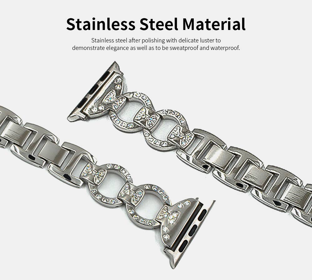 Stainless Steel Watch Band for Apple Watch, Twisted Metal Watch Band, iWatch Twisted Diamante Watch Strap 2