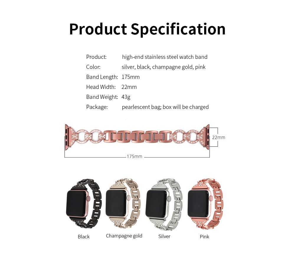 Stainless Steel Watch Band for Apple Watch, Twisted Metal Watch Band, iWatch Twisted Diamante Watch Strap 7