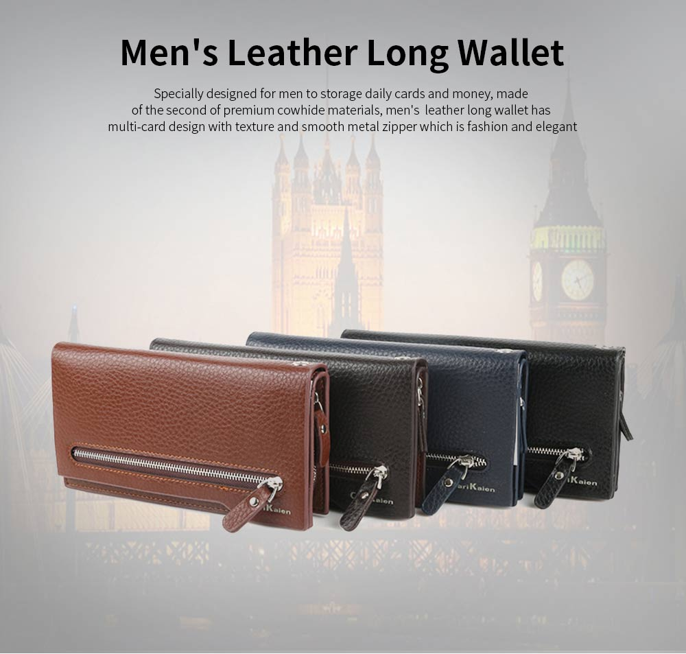 Men's Leather Long Wallet with Smooth Metal Zipper, Business Casual Wallet with Large Capacity for Men 0