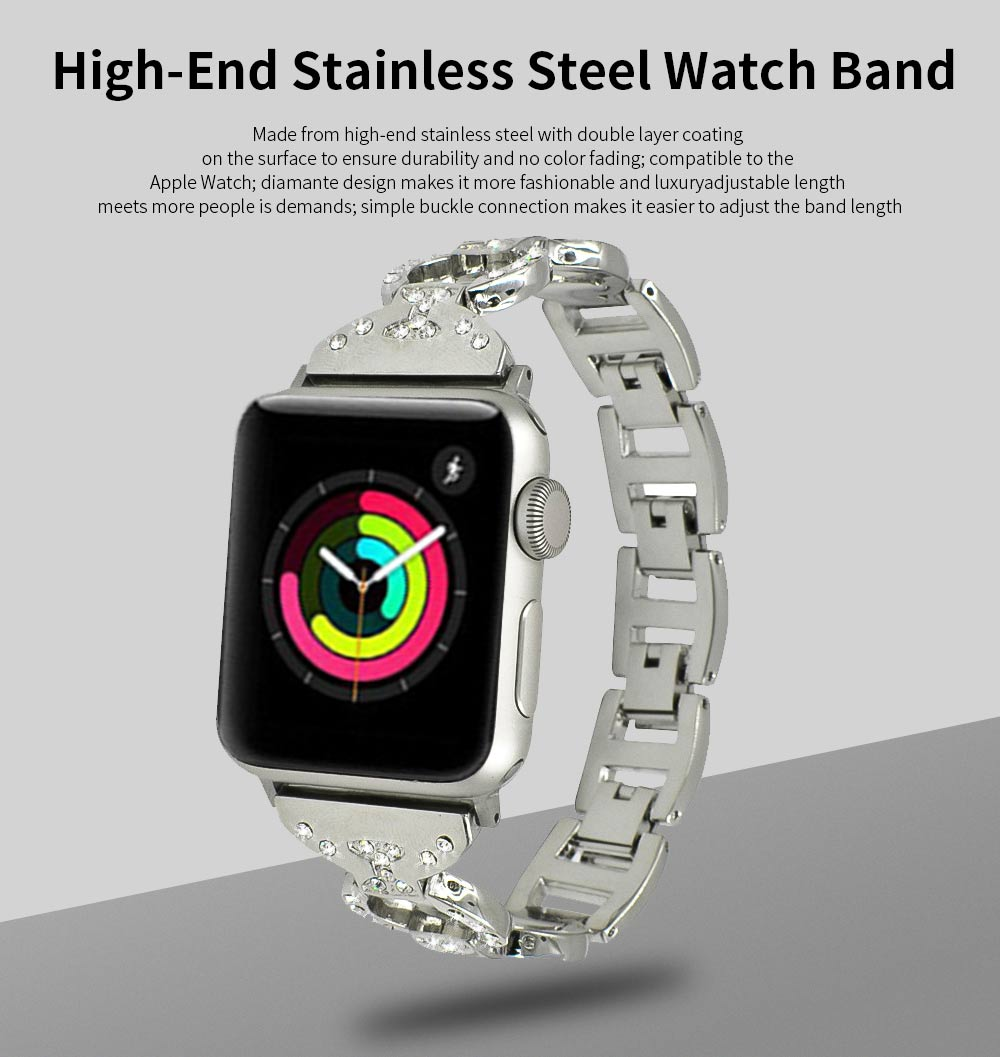 Stainless Steel Watch Band for Apple Watch, Twisted Metal Watch Band, iWatch Twisted Diamante Watch Strap 0