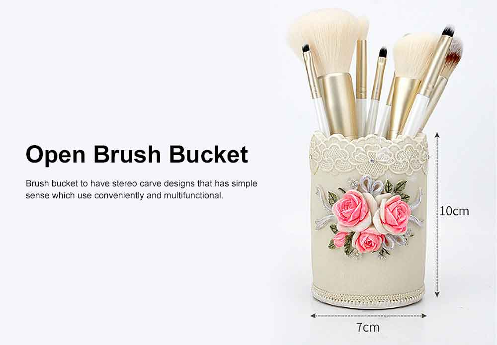 Makeup Brushes Set Professional 10PCS with Relief Cosmetic Storage Bucket, Cosmetic Tool Makeup Brushes for Women 6