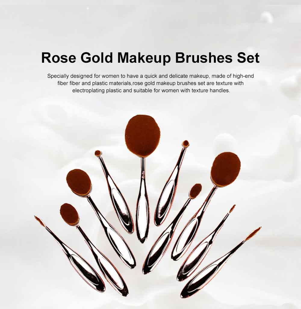 Rose Gold Makeup Brushes Set, Multifunctional Brushes with toothbrush Shape, Cosmetic Tools for Women 0