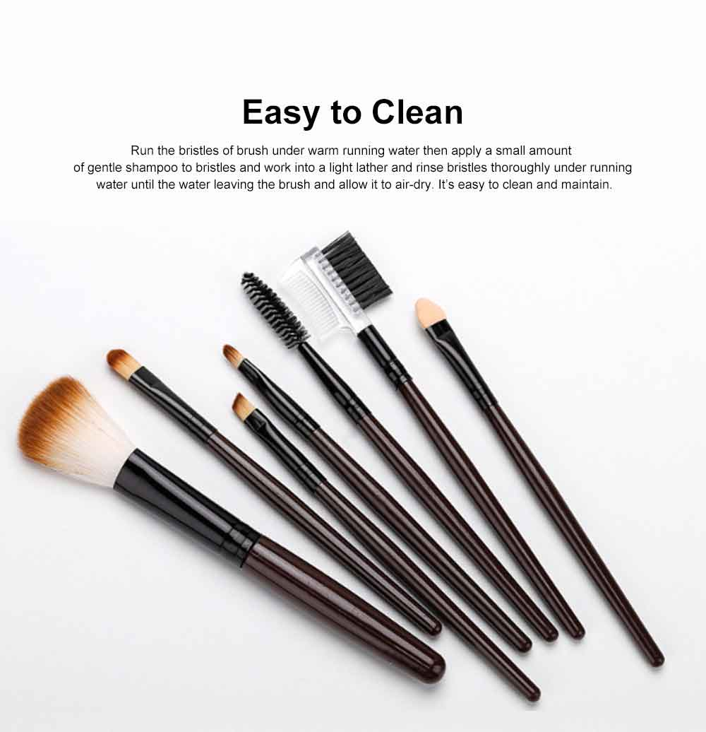 Brown Makeup Brush Set with Leather Cosmetic Bag, Professional High Quality Eyes Makeup Brushes for women 5