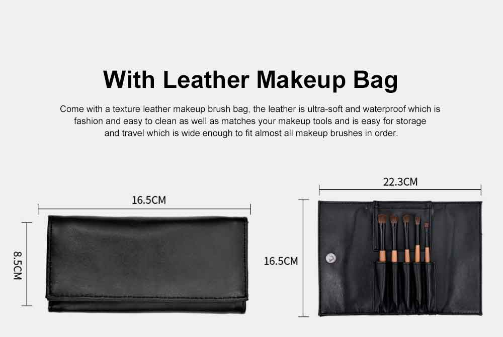 Portable Eyeshadow Brush with Leather Cosmetic Bag, Eyes Makeup Brushes for women, Cosmetic Tool 4
