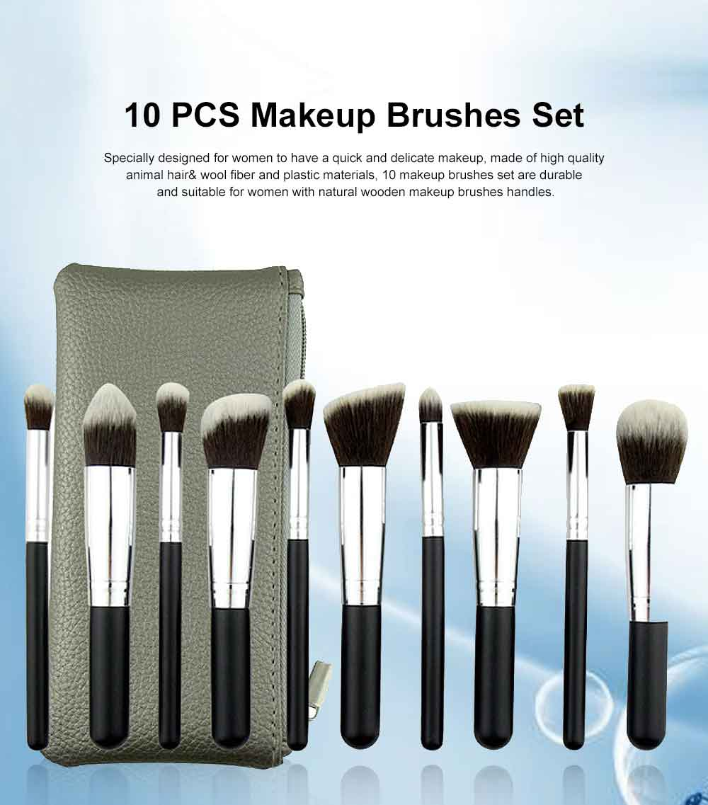 10 PCS Makeup Brushes Set, Multifunctional Wooden Handle with Thickened Aluminum Tube,  Cosmetic Tools for Women 0