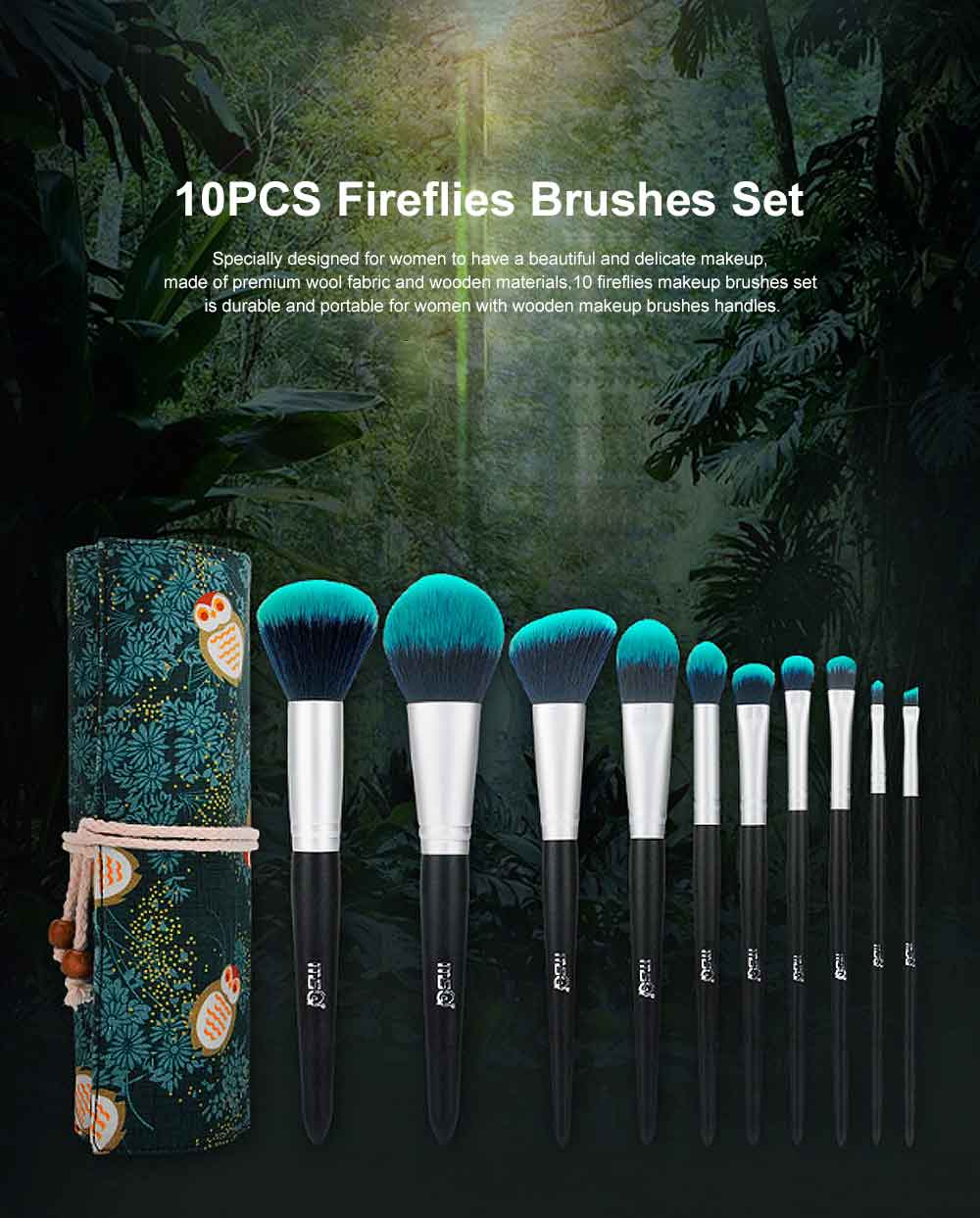 Fireflies Makeup Brushes Set with Reactive Dyed Cloth Bag, Makeup Brushes for Women, Cosmetic Tool, 10PCS 0