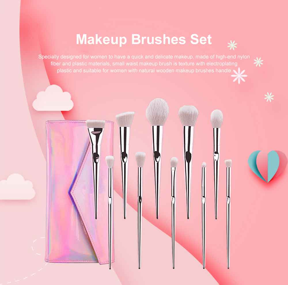 Professional Makeup Brush Sets 2019, Portable Makeup Brush With Leather Cosmetic Bag, 10PCS 0
