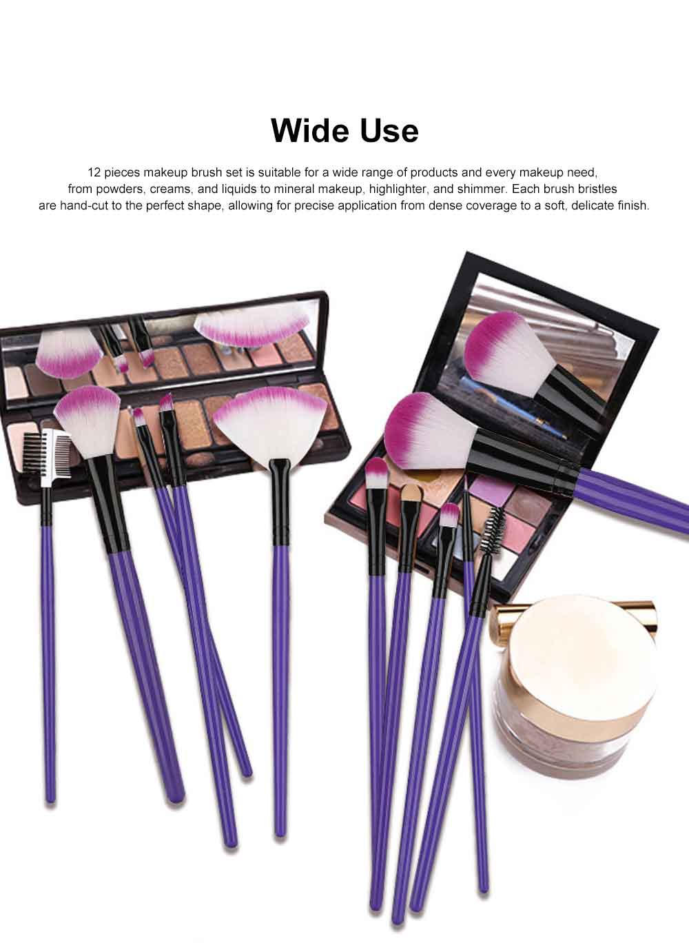 12PCS Makeup Brushes Set Makeup Brushes for Eye-shadow Concealer Eyeliner Brow Blending Brush Cosmetic Tool 5