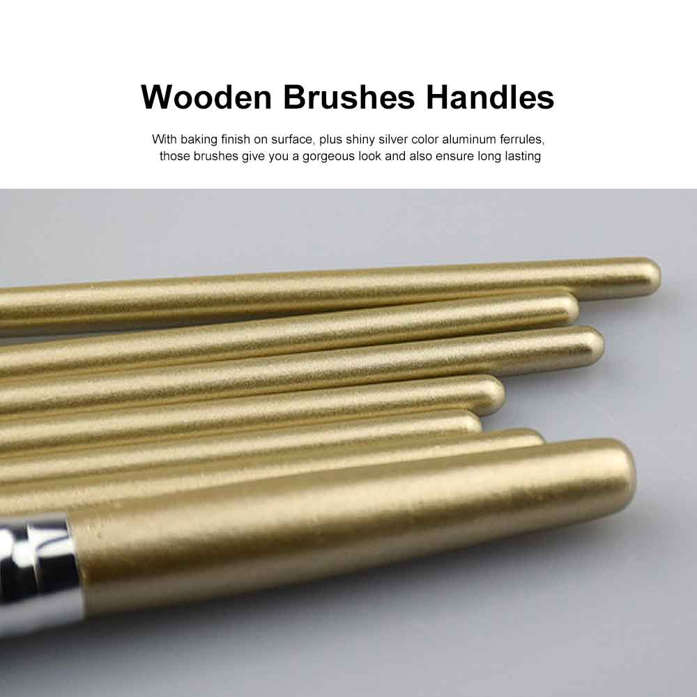 7PCS Makeup Brushes Set, Wooden Handle with Thickened Aluminum Tube, Multifunctional Cosmetic Tools for Women 3