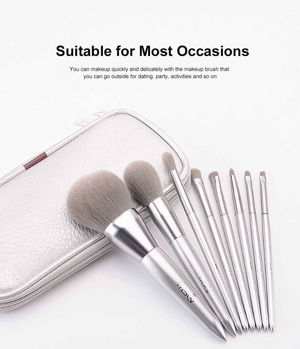 8PCS Makeup Brushes Set with Pearly Solid Wood Brush Rod and Brush Barrels 5