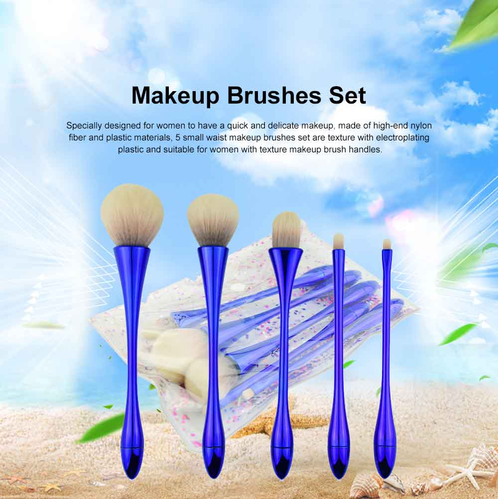 5 Small Waist Makeup Brushes Set, Multifunctional Brushes with Small Waist Shape of Electroplating Plastic 0