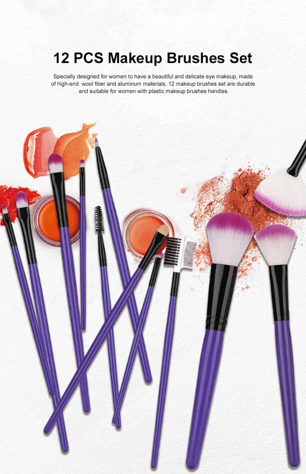 12PCS Makeup Brushes Set Makeup Brushes for Eye-shadow Concealer Eyeliner Brow Blending Brush Cosmetic Tool 0