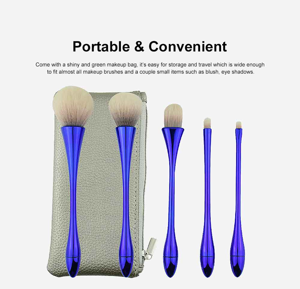 5 Small Waist Makeup Brushes Set, Multifunctional Brushes with Small Waist Shape of Electroplating Plastic 4