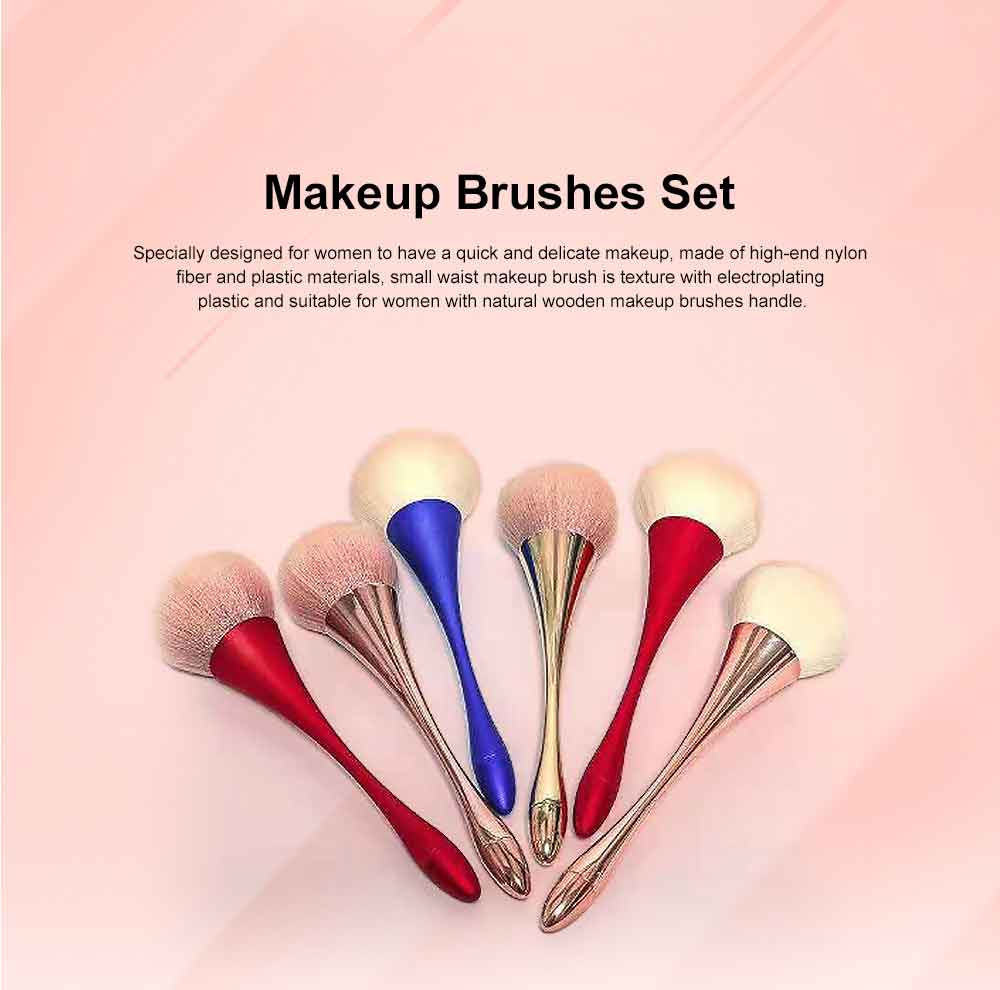 Metallic Makeup Brush, Multifunctional Brush with Small Waist Shape of Electroplating Plastic 0