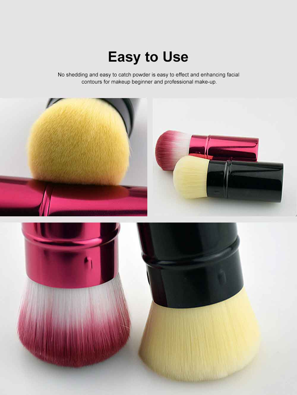 Retractable Makeup Blush Brush Blending Powder, Ultra-soft and Portable Cosmetic Tools for Women 4