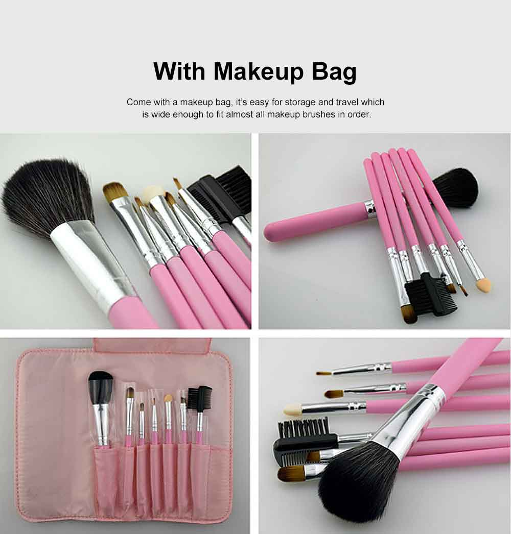 7PCS Makeup Brushes Set, Wooden Handle with Thickened Aluminum Tube, Multifunctional Cosmetic Tools for Women 4