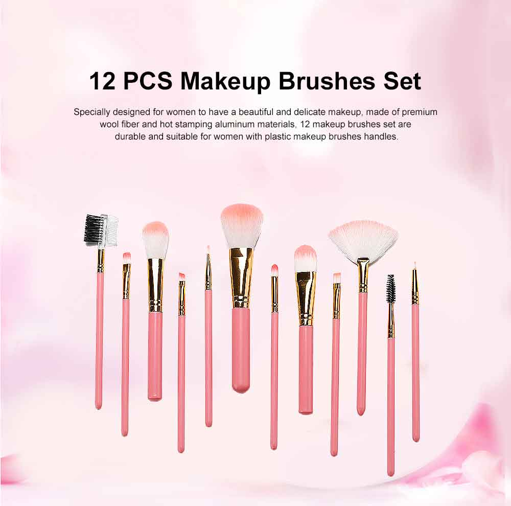 Practical Makeup Brush Set With Brush Barrels, 12 PCS Eye Makeup Brushes Set For Women 0