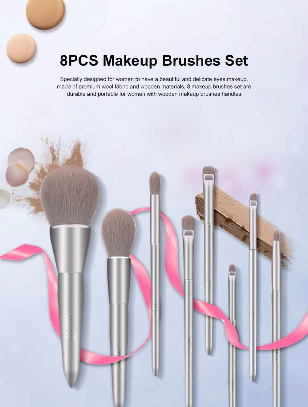 8PCS Makeup Brushes Set with Pearly Solid Wood Brush Rod and Brush Barrels 0