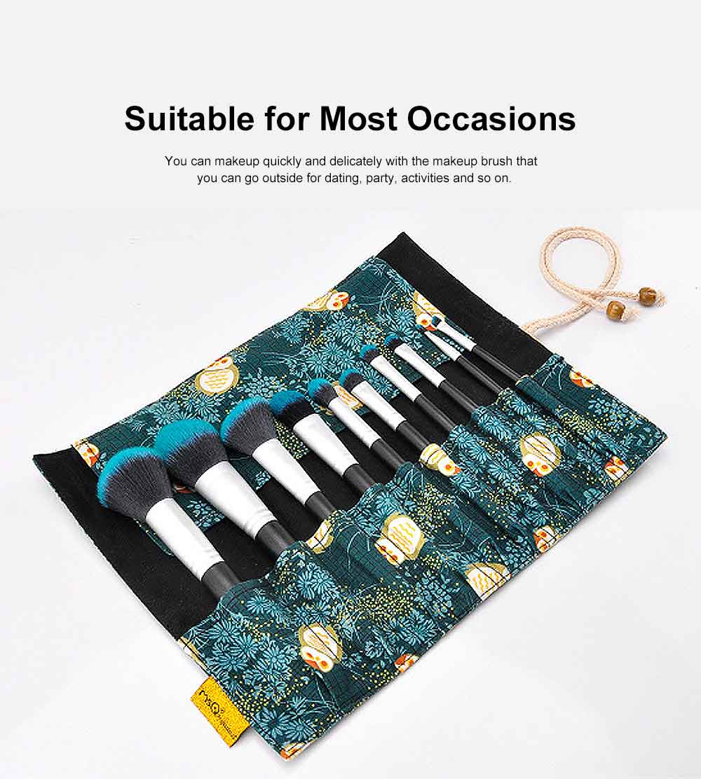 Fireflies Makeup Brushes Set with Reactive Dyed Cloth Bag, Makeup Brushes for Women, Cosmetic Tool, 10PCS 4