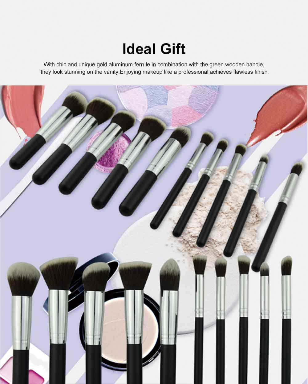10 PCS Makeup Brushes Set, Multifunctional Wooden Handle with Thickened Aluminum Tube,  Cosmetic Tools for Women 4