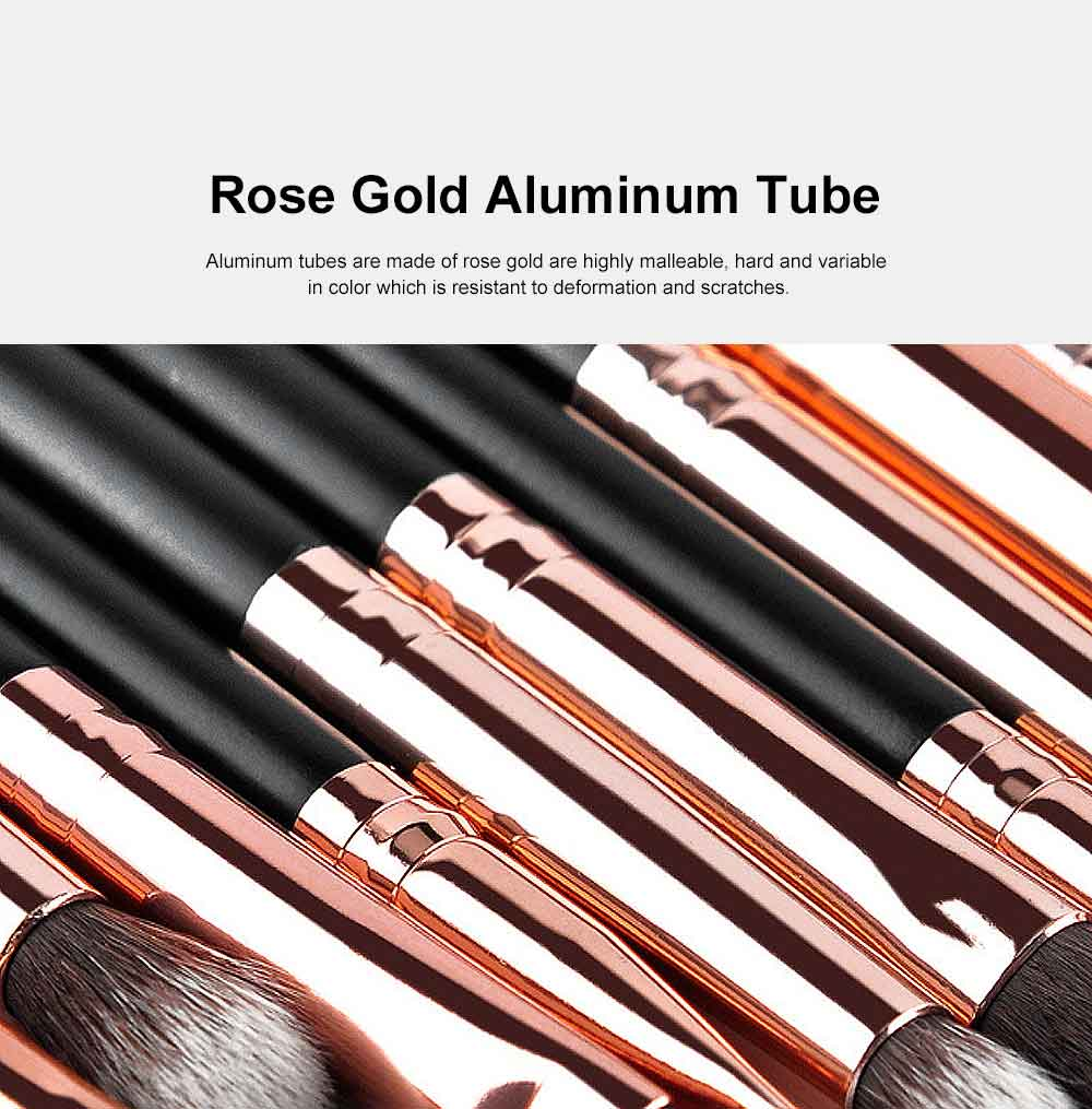 12 Rose Gold Eyeshadow Brushes Set with Lychee Brush Bag, Cosmetic Tool Makeup Brushes for Women 2