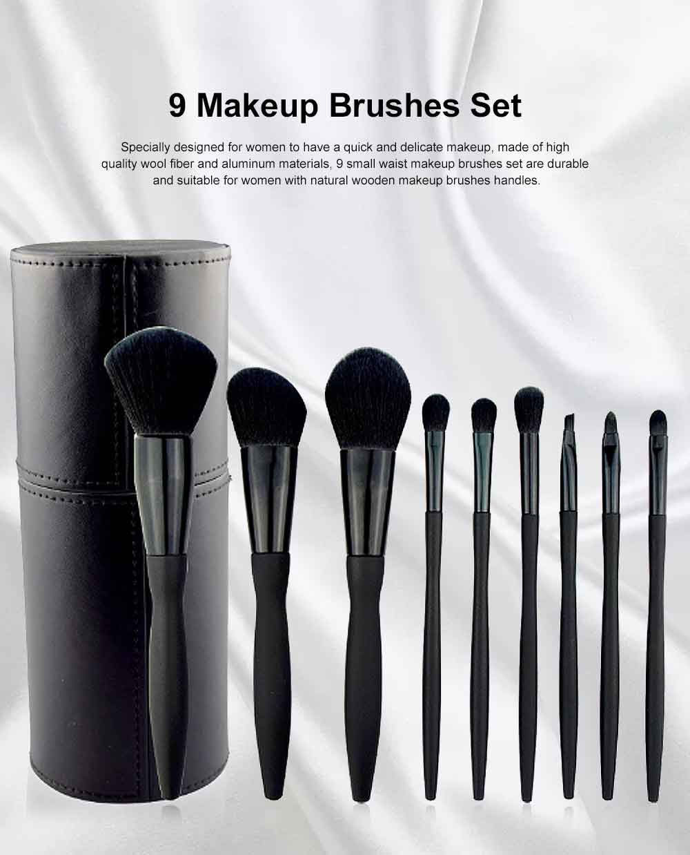9 Makeup Brushes Set, Multifunctional Brushes with Small Waist Shape, Cosmetic Tools for Women 0