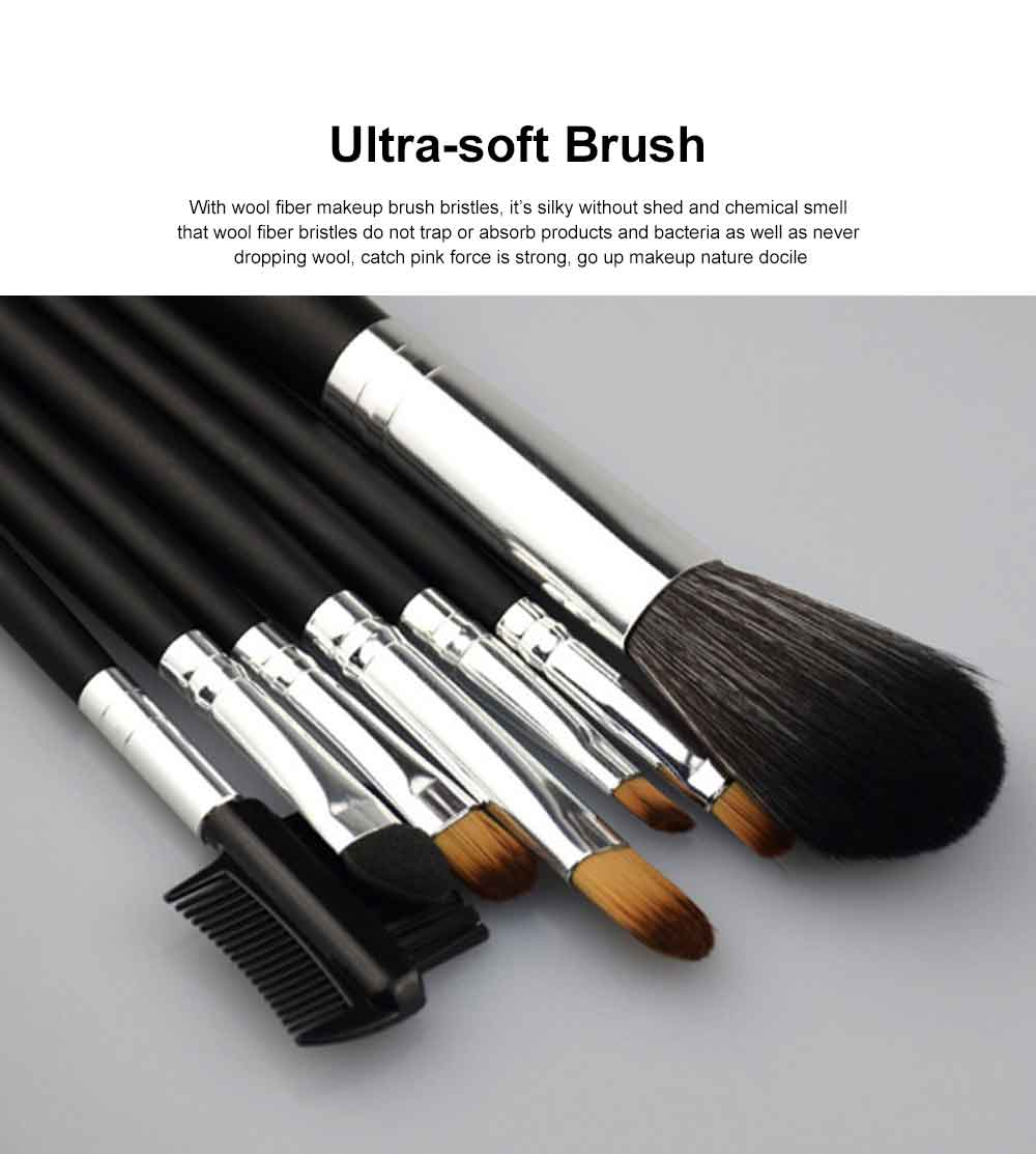 7PCS Makeup Brushes Set, Wooden Handle with Thickened Aluminum Tube, Multifunctional Cosmetic Tools for Women 1