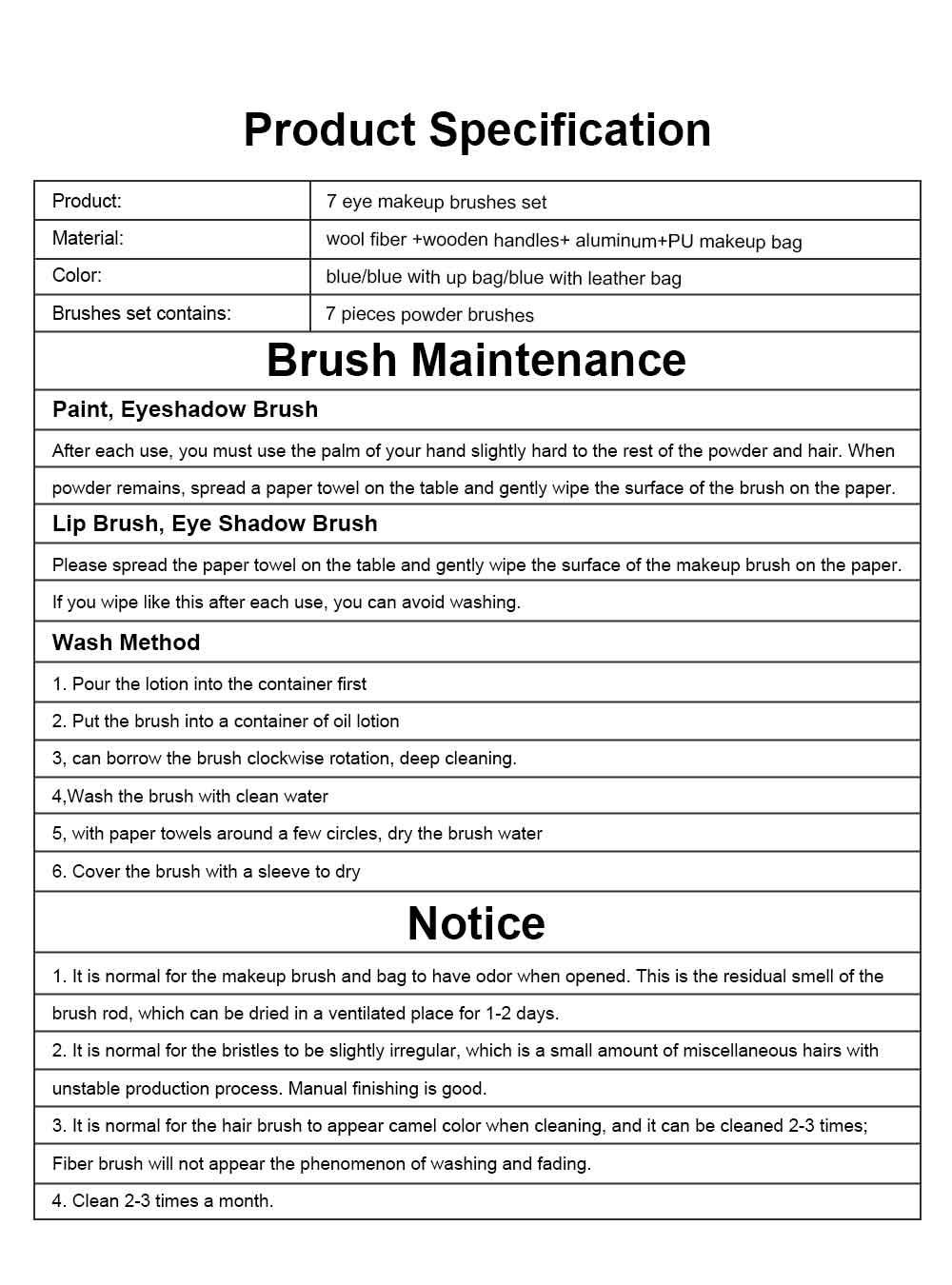 Makeup Brush Set Eye Makeup Brushes for Eye-shadow Concealer Eyeliner Brow Blending Brush Cosmetic Tool 7