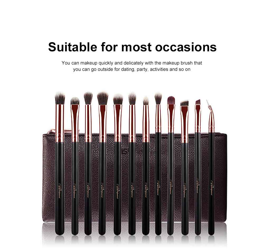 12 Rose Gold Eyeshadow Brushes Set with Lychee Brush Bag, Cosmetic Tool Makeup Brushes for Women 5