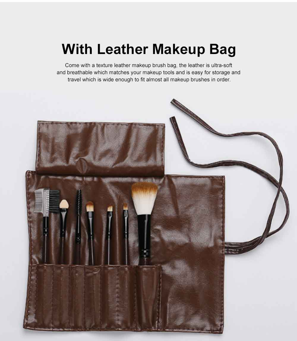 Brown Makeup Brush Set with Leather Cosmetic Bag, Professional High Quality Eyes Makeup Brushes for women 4