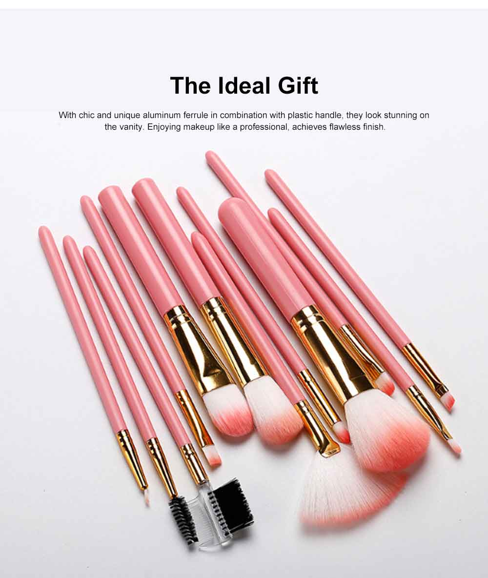 Practical Makeup Brush Set With Brush Barrels, 12 PCS Eye Makeup Brushes Set For Women 6