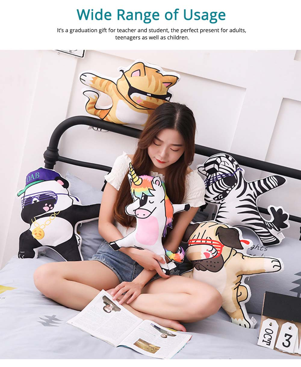 Hip-hop Youth League Hold Pillow, Comfortable Animals Doll with Metal Zipper, Printing Design Cotton Pillow 4