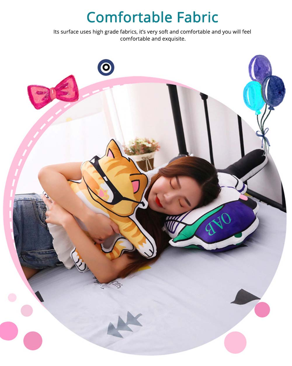 Hip-hop Youth League Hold Pillow, Comfortable Animals Doll with Metal Zipper, Printing Design Cotton Pillow 2