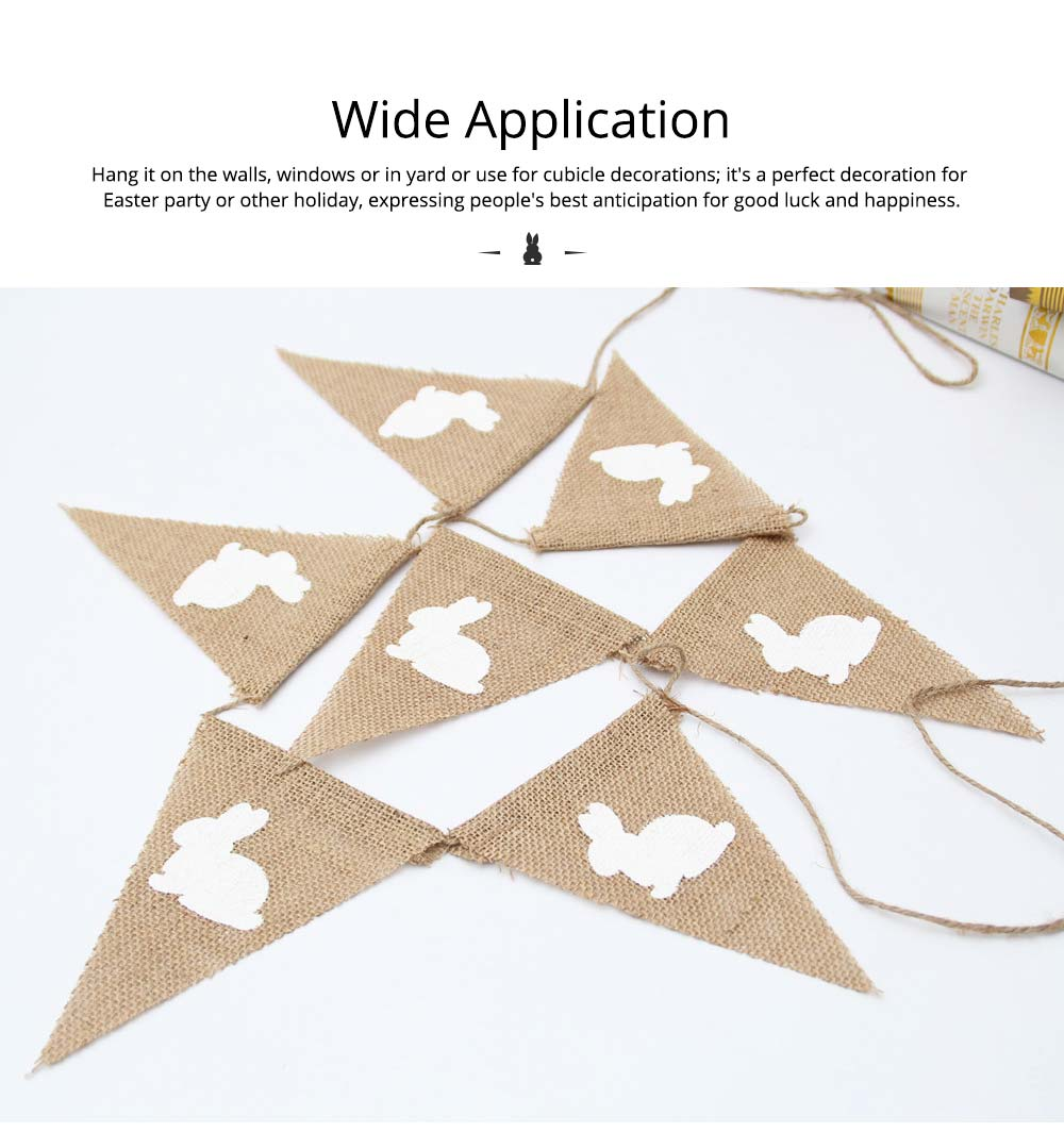 Rabbit Pattern Burlap Flags, Triangle Linen Banner for Easter or Festival Party Decoration 4