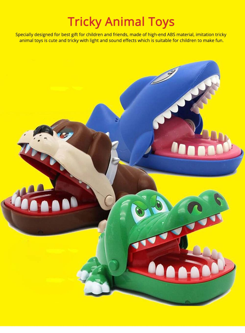 Small Tricky Animal Toys, Lifelike Teeth Finger Biting Toy with Lights and Sound Effects, Perfect Gift for Children 0