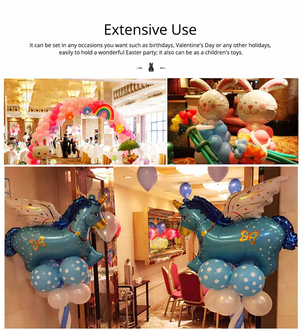 Cartoon Rabbit Printing Latex Balloon, Birthday Party Balloons with Ribbon for Festival Easter Decoration Single or Double Bunch 9