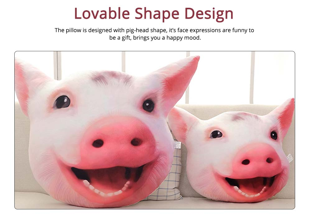 Pig-head Pillow Cute Shape Cushion, PP Short Plush Creative Bolster for Birthday Gift 1