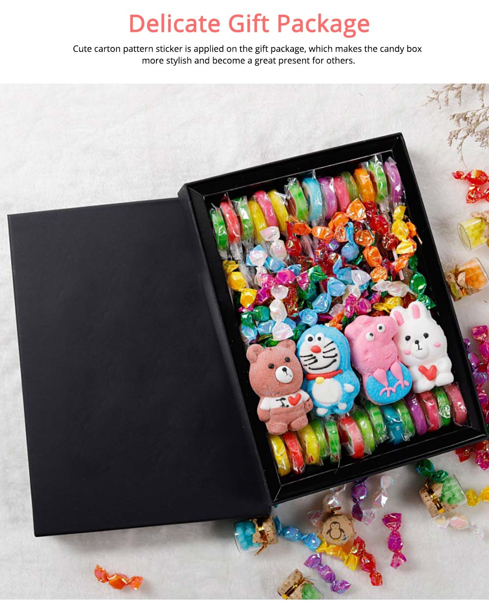 Cute Creative Candy Marshmallow Lollipop Gift Box for Children, Delicate Carton Painting Sticker Candy Present for Lovers Family 4