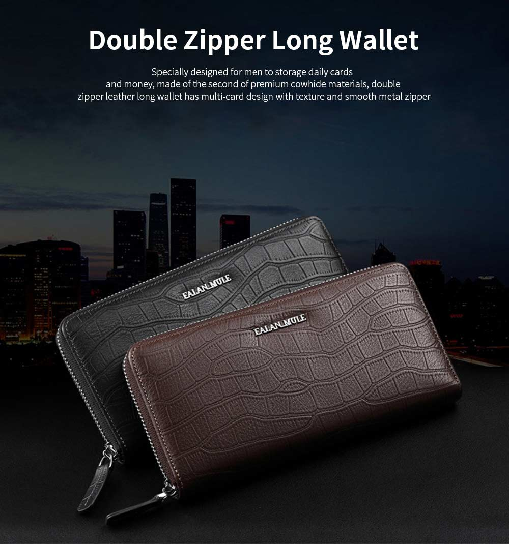Business Casual Wallet with Metal LOGO, Double Zipper Leather Long Wallet with Large Capacity for Men 0