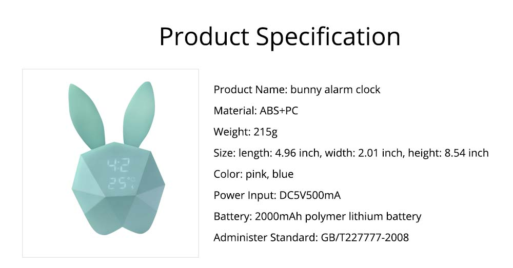 Creative Cute Rabbit Bunny Shaped Intelligent Digital Alarm Clock, Fashion Stylish Luminous Multifunctional Clock Watch with Magnet 6